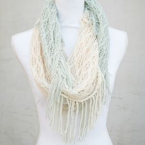 Turquoise & Cream Ombre Infinity Scarf With Fringe